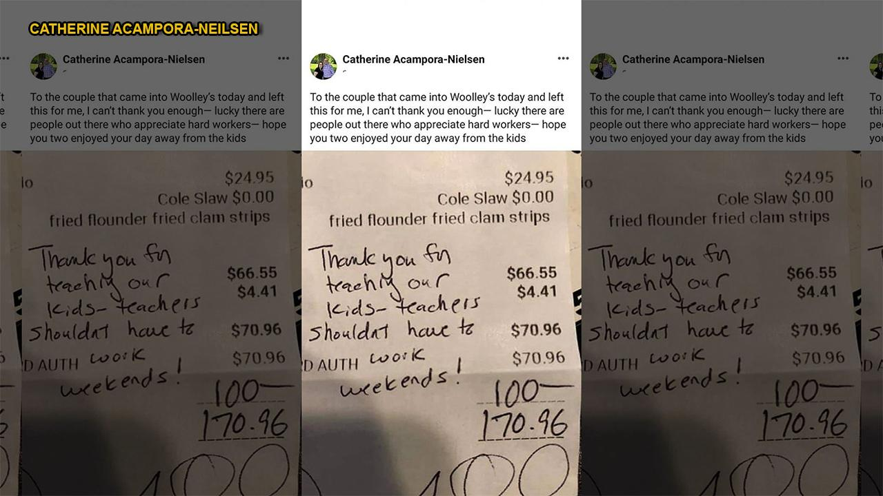 Diners see teacher moonlighting as waitress, surprise her with huge tip: 'Teachers shouldn't have to work w...