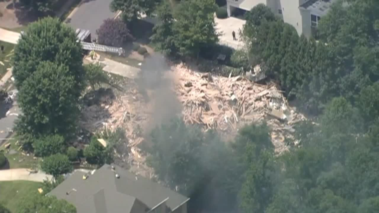 Raw video: Powerful explosion destroys home in Charlotte, North Carolina
