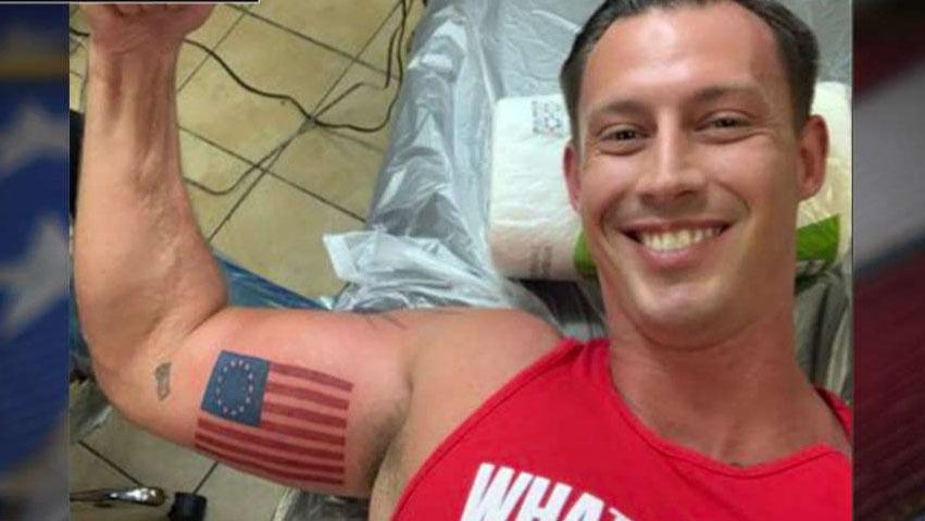Westlake Legal Group 694940094001_6056113457001_6056116114001-vs Retired Marine stands up to Nike with Betsy Ross flag tattoo Sam Dorman fox-news/us/military fox-news/us/education/patriotism fox-news/topic/fox-news-flash fox-news/person/colin-kaepernick fox news fnc/politics fnc article 1bdf0779-77bc-59f0-ae79-ea6b15968442