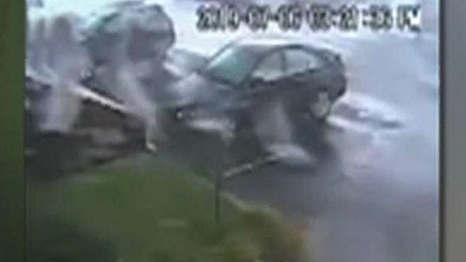 Landspout tornado flips car in New Jersey