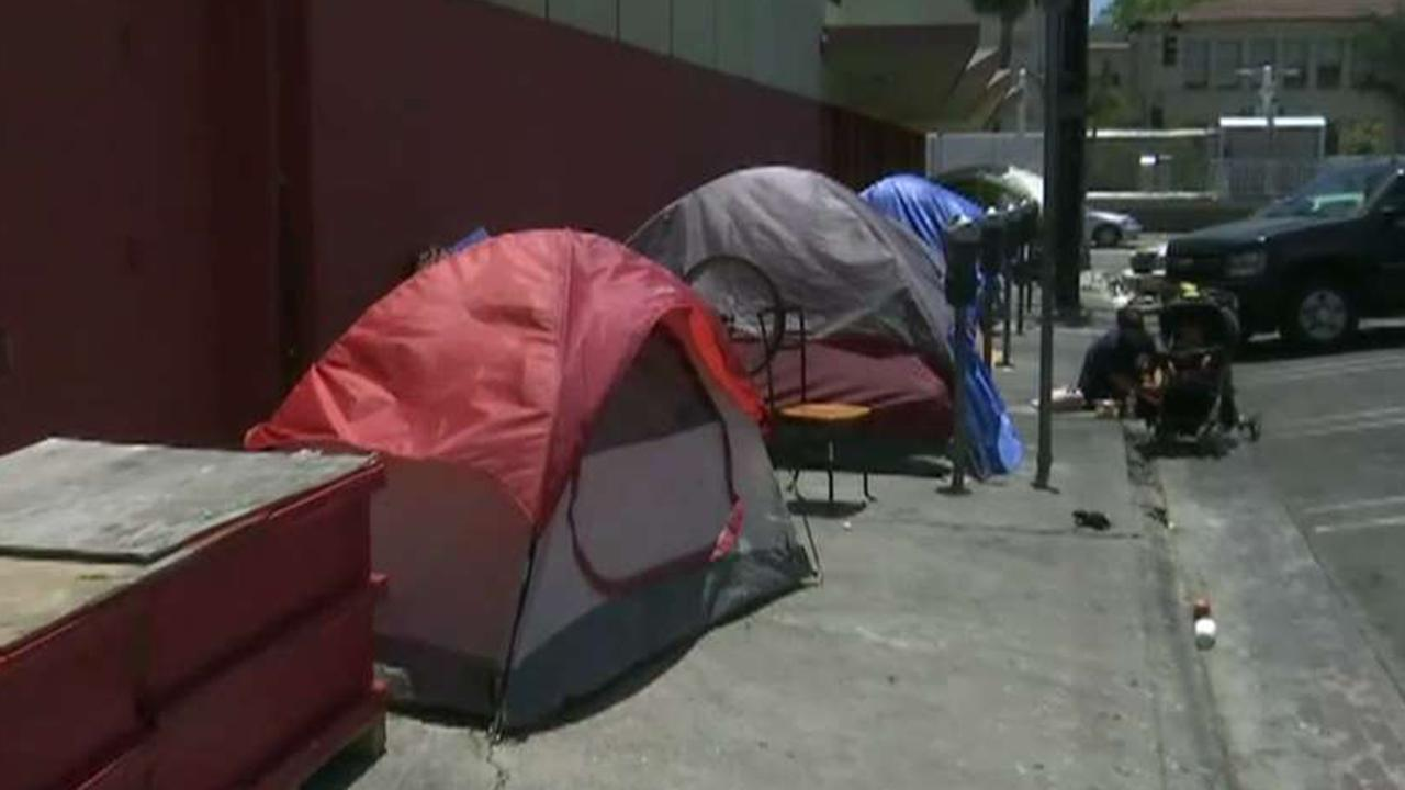 Business owners in Los Angeles deploy obstacles to deter homeless camps