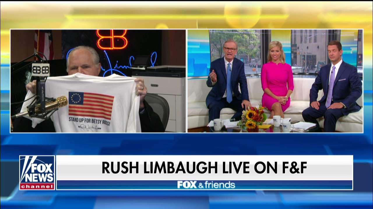 Rush Limbaugh unveils new Betsy Ross flag shirt to support troops, police