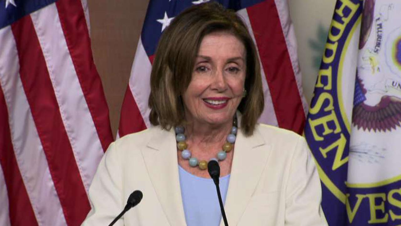Westlake Legal Group 694940094001_6060396637001_6060387640001-vs Pelosi rips Trump bid to link Dems to 'Squad,' vows not to 'waste our time on that' fox-news/politics/house-of-representatives/democrats fox-news/person/nancy-pelosi fox-news/person/donald-trump fox-news/person/alexandria-ocasio-cortez fox news fnc/politics fnc article Alex Pappas 6b538ae2-f9d6-5ed5-8776-6f69e74d09ff