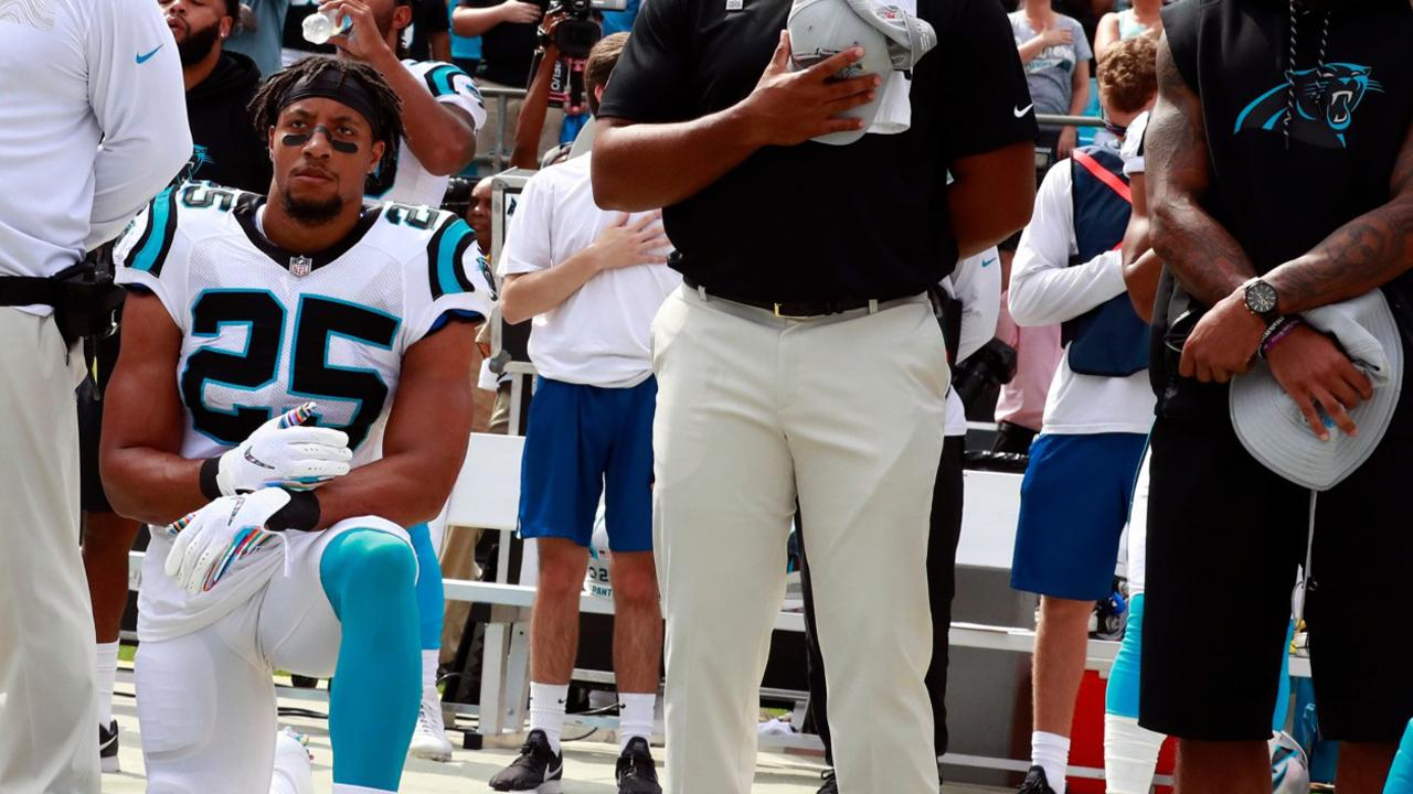 Carolina Panthers' Eric Reid reveals when he will stop kneeling during the national anthem