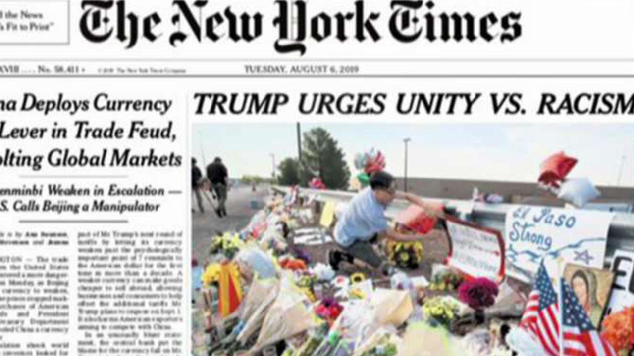 New York Times changes 'Trump urges unity vs  racism' headline after