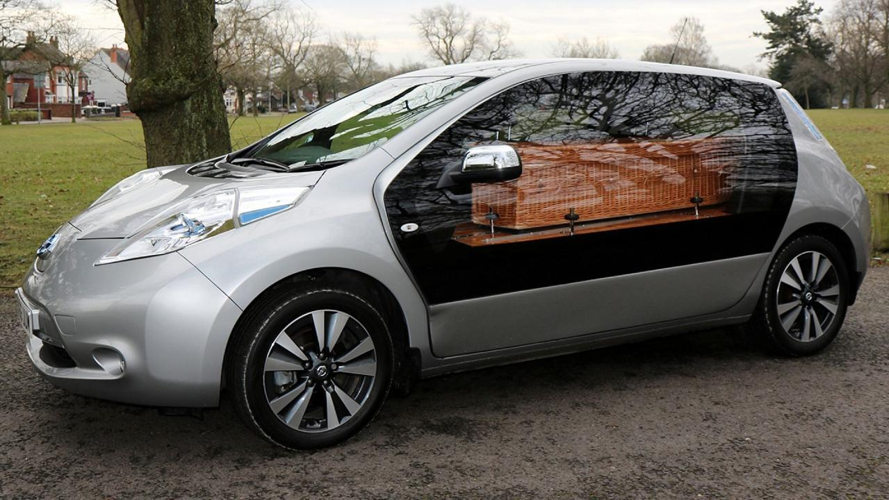 Nissan's electric hearse is a new environmentally friendly vehicle for families seeking a green alternative to traditional hearses.