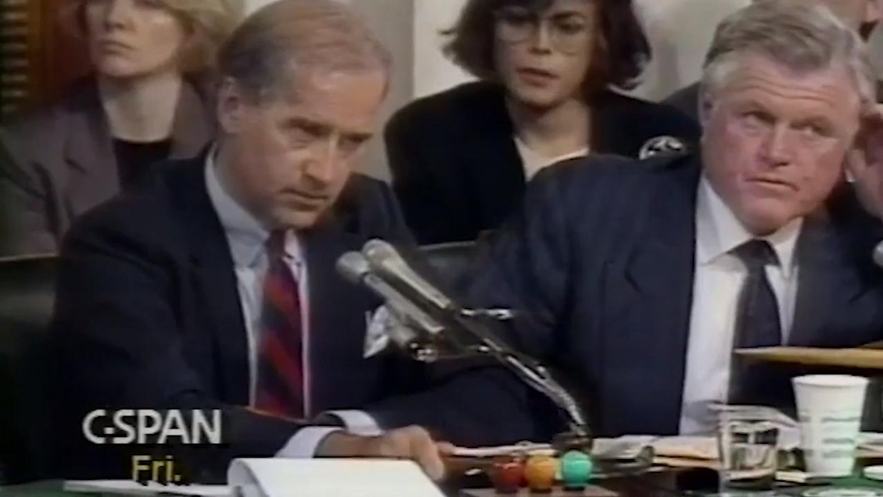 Senator Biden restores order after Sens Specter and Kennedy clash during Anita Hill testimony