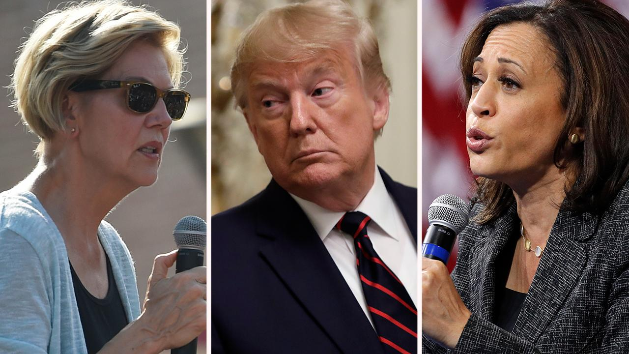 Warren disagrees with Harris, says Trump should not be banned from Twitter