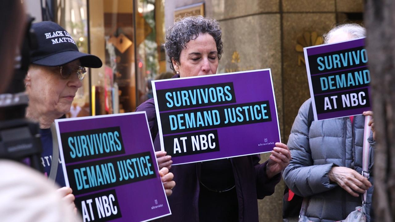Protesters storm NBC over handling of Matt Lauer, Harvey Weinstein allegations