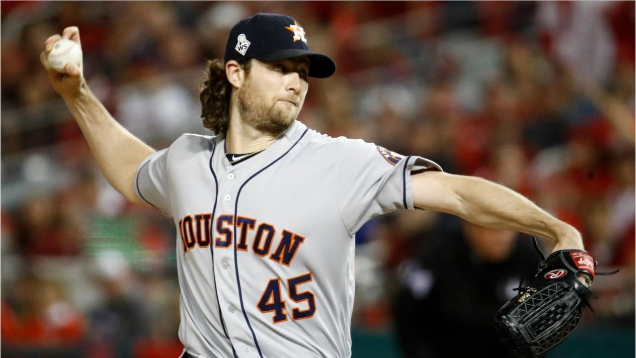 Gerrit Cole wears a cap with his agent, Scott Boras', brand on it. The free agent is now distancing himself from the Astros after their World Series loss.