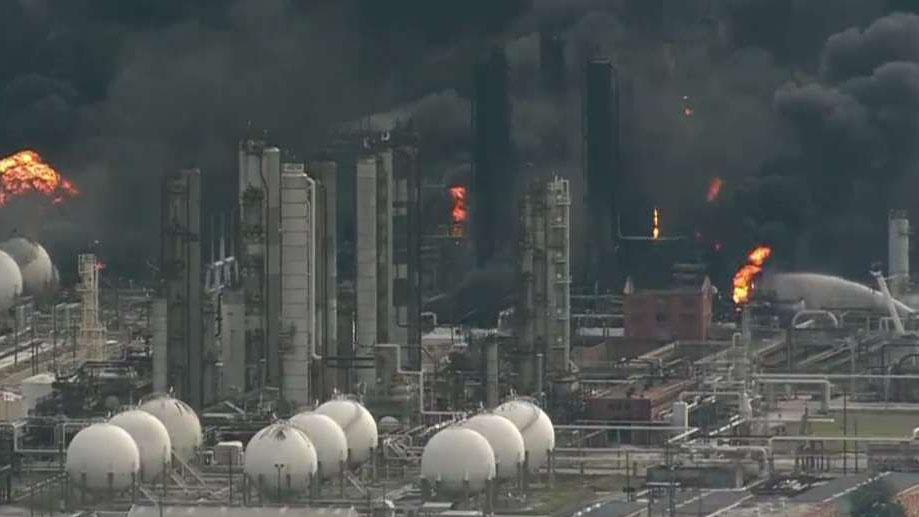 Fires burn at a chemical plant in Port Neches, Texas