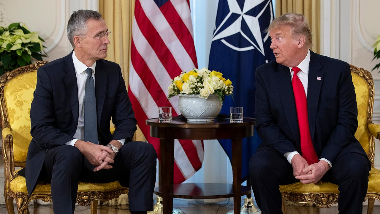 Trump blasts Democratic impeachment push during NATO press conference