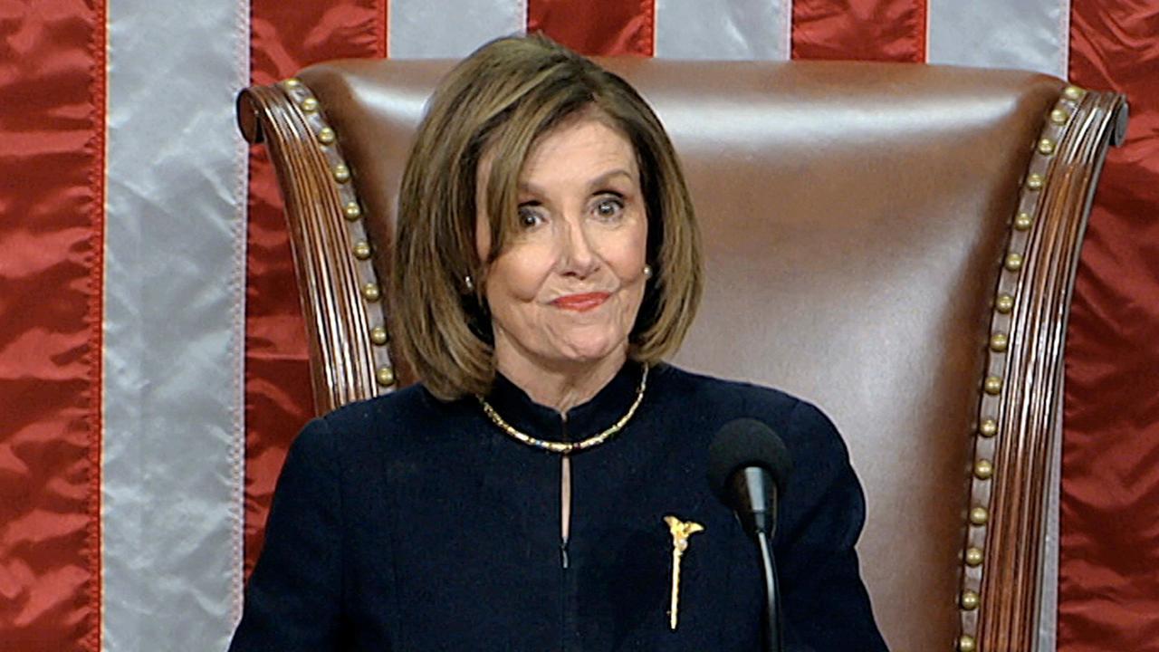 Nancy Pelosi speaks after House votes to impeach President Trump