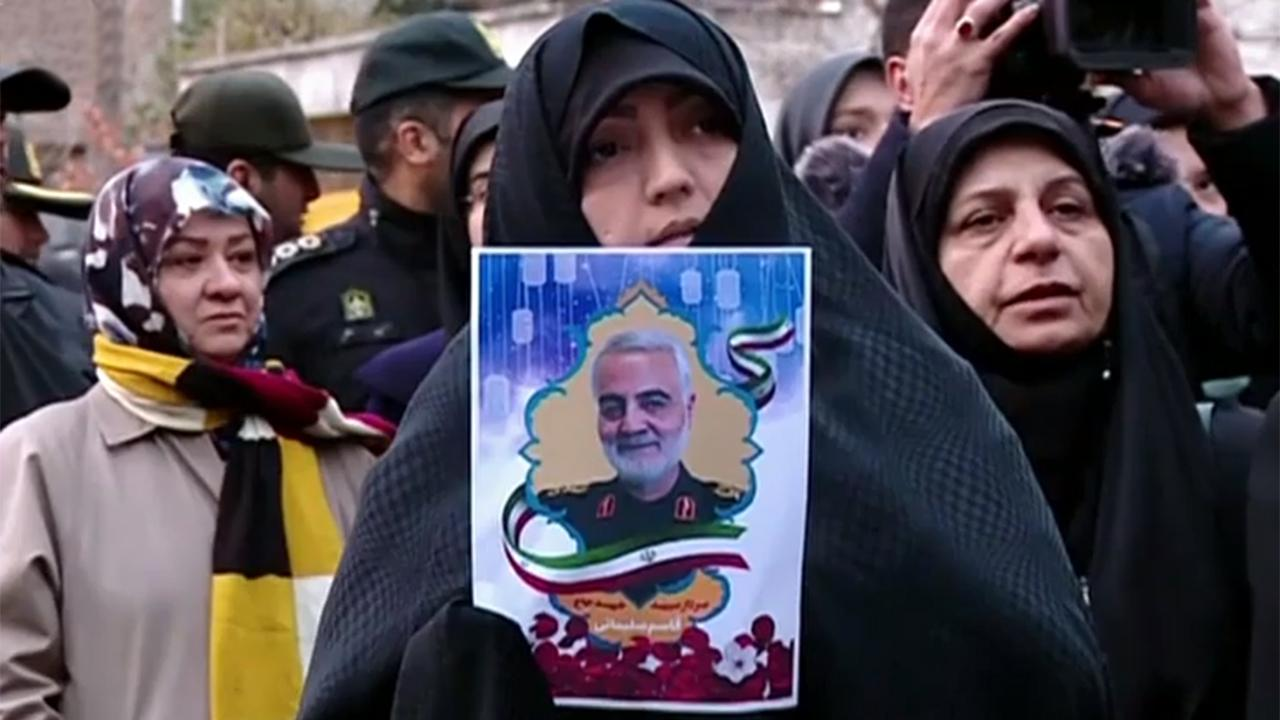 Protesters rally outside United Nations office in Tehran in response to killing of Soleimani