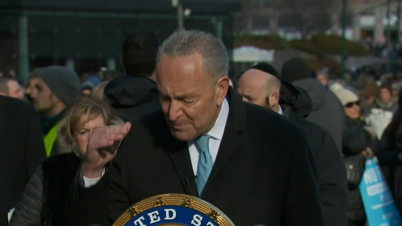 Chuck Schumer speaks at anti-Semitism rally in NYC