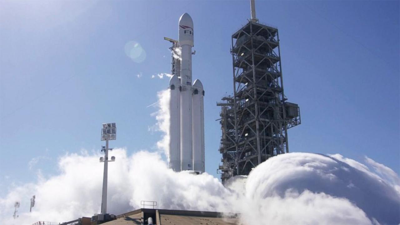 Falcon 9 rocket takes off from Cape Canaveral.