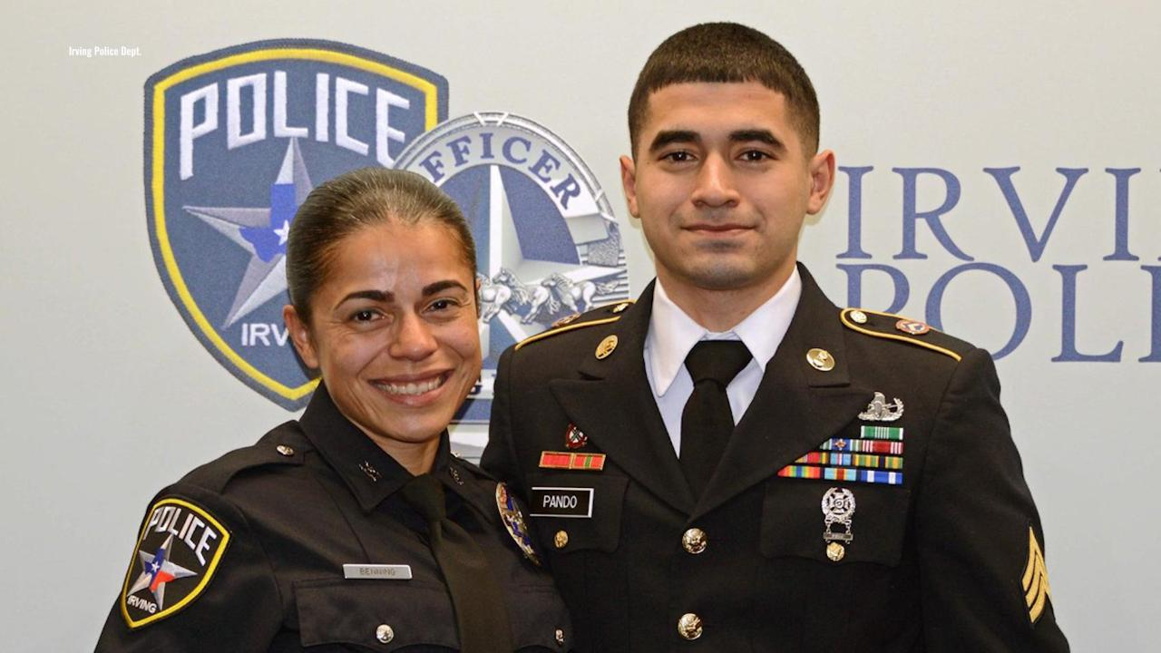 Texas police officer emotional after military son surprises her at swearing-in ceremony