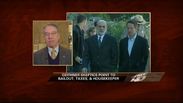 Grassley: Need Time to Digest Geithner Issue