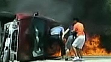Girl Saved From Burning Car
