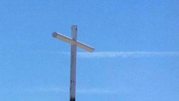 Memorial Cross Covered Up